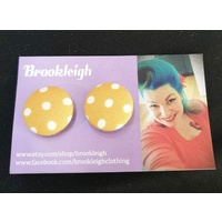 Button Earrings in Yellow and White Polka Dot