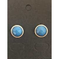 Gold Trim Studs in Blue