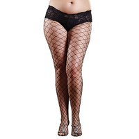 PLUS SIZE - Fence Net Pantyhose with Boy Short Lace Top