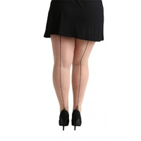 PLUS SIZE - Cuban Heel Spandex Pantyhose in Beige/Black