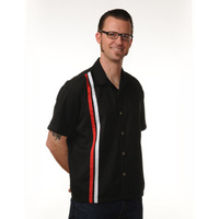 Men's Bowling Shirt in Black V8 Button Racer Button Up