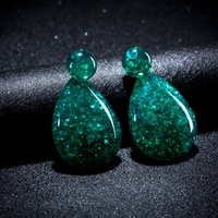Tear Drop Earrings in Green
