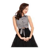 Clementine Cropped Gingham Tie Front Blouse in Black/White